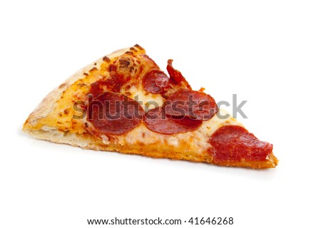 A slice of Pepperoni pizza on a white background