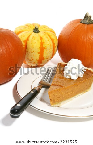 A slice of pumpkin pie on a plate with pumpkins in the background - stock photo