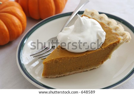 A slice of pumpkin pie with whipped cream and a fork.