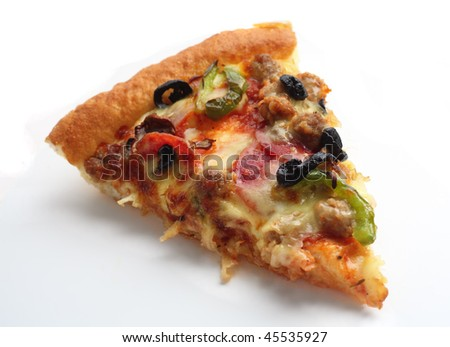 "A slice of ""supreme"" pizza over a white background with a light shadow"
