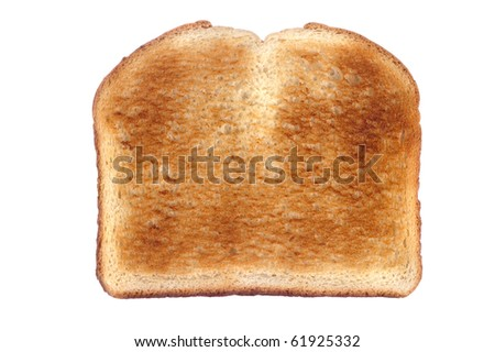 A slice of toasted white bread isolated on white