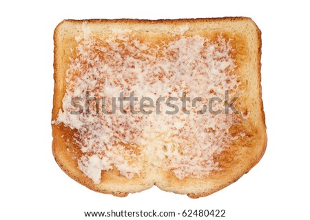 A slice of toasted white bread with butter isolated on white