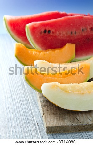 a slice of watermelon and melon