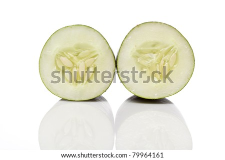 A sliced green cucumber against a white background