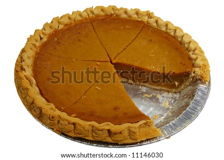 A sliced pumpkin pie in a tin, isolated on a white background.