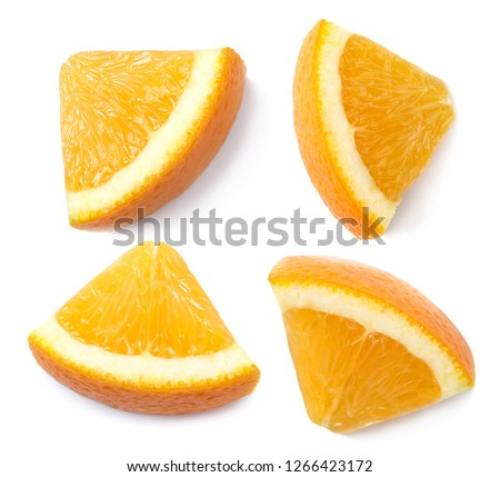 A slices of orange, cut out. Top view.