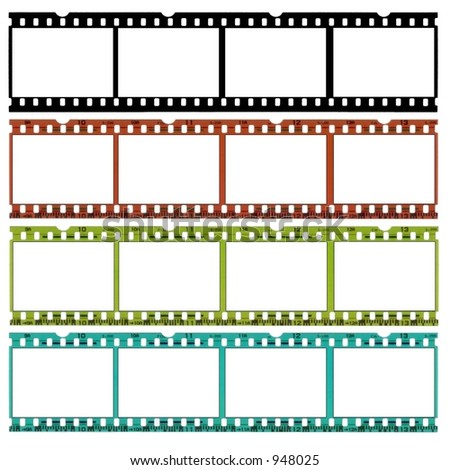 A slide of 35 mm film in b/w, original and two different colors,ideal for website borders!