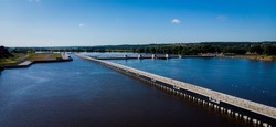A sluice for the passage of ships and barges along the river. Hydraulic unit. Photo from a drone on the Oka River in Russia.