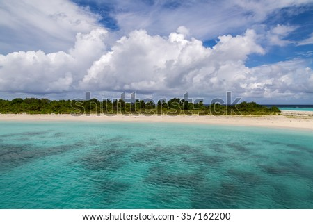 a small beautiful island with plants and turquoise water #357162200