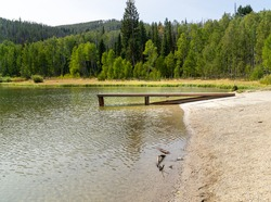 A small boat ramp at Pearl Lake State Park in Clark, Colorado
