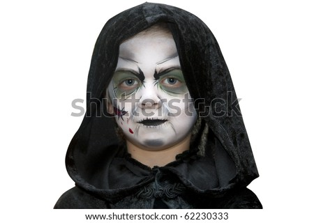 A small boy dressed in a scary costume ready for halloween - stock photo