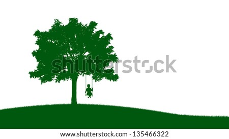 A small boy on a swing - silhouette illustration
