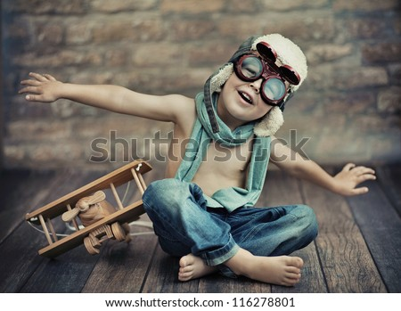 a small boy playing