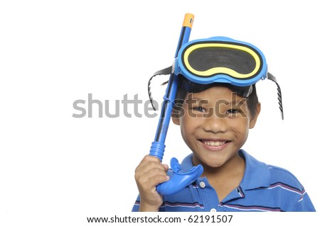 A small boy with Blue rubber scuba tools
