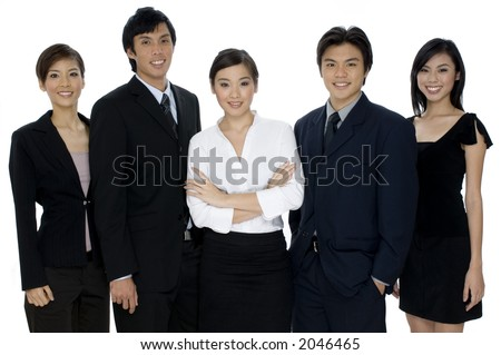 A small business team of young asian professionals on white background