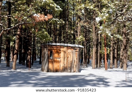 A small cabin shack buried in the wilderness trees surrounded by snow.