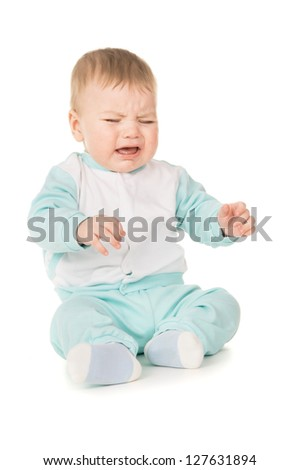 a small child crying isolated on white background
