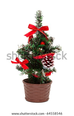 a small Christmas tree on a white background