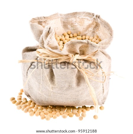A small cloth tied bag with soybeans  isolated white background.