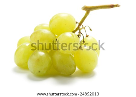 A small cluster of green grapes isolated on a white background.