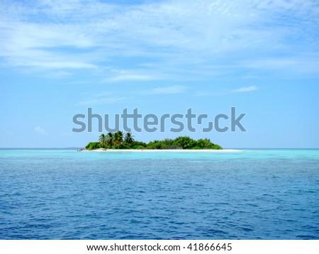 A small desert island at the Maldives