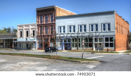 A small downtown area in Comer, Georgia, USA.