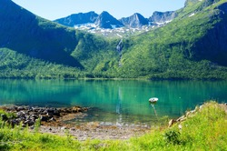 A small fjord with turquoise water, surrounded by mountains. The mountain river flows on a steep slope. Cycling tour in Polar Norway.