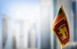 A small flag of Sri Lanka on the background of a blurred background