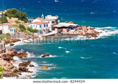A small Greek village on a beach. Samos island, Greece