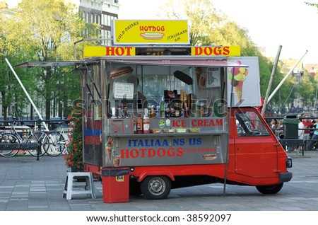 A small hot dog car in Amsterdam.