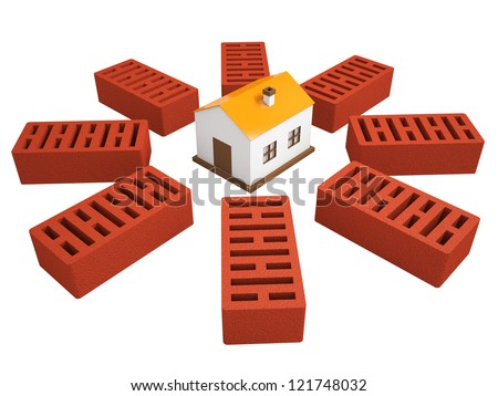 A small house and the bricks on a white background