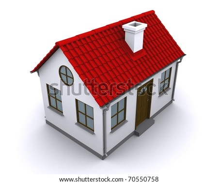 A small house with red roof on a white background