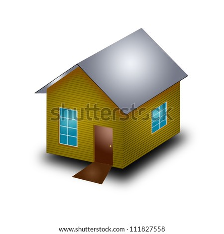A small house with roof on a white background..