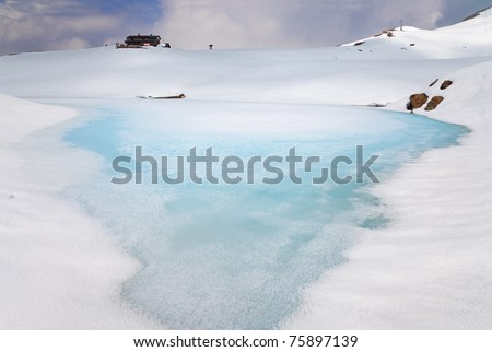 A small icy mountain lake after a frozen winter night during spring