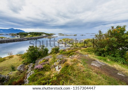 A small island near the Atlantic Road (Atlanterhavsveien), an iconic tourist attraction and popular site to film automotive commercials, More og Romsdal, Norway #1357304447