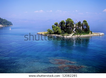 A small island off the coast of Corfu town, greece