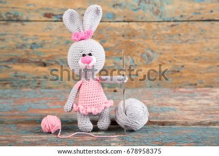 Handmade Knitted Rabbit. Easter Bunny Ballet Dancer In Pink Dress ...   320x450