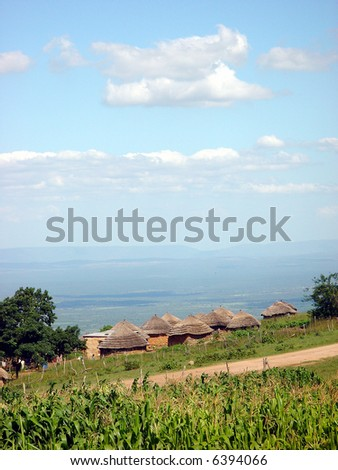 A small local village in Swaziland next to South Africa