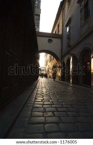 A small moody dark street in Prague, Czech Republic.