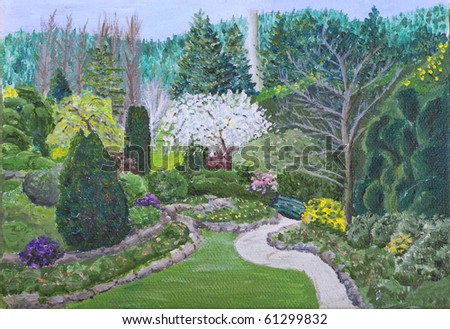 A small painting of an early spring scene in the Butchart Gardens, Victoria, British Colombia, Canada. An Impressionistic approach in this oil painting where the brush strokes are clearly visible.