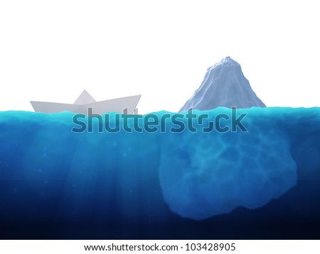 A small paper ship heading into an iceberg