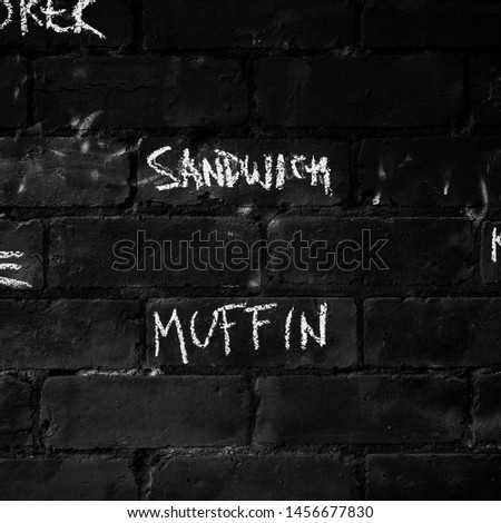 a small 1:1 photograph taken on a brick wall of a small cafe located in, Melbourne. Showcases the importance of words and the colour for which the words stand out and make an appearance.  #1456677830