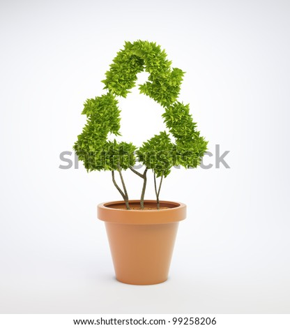 A small plant in a pot shaped like a recycling symbol