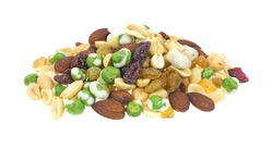 A small portion of wasabi peas, golden raisins, almonds and dried cranberries on a white background.
