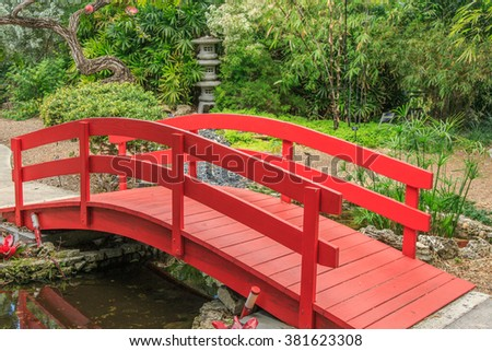 Detail · A Small Red Bridge In The Japanese Garden Of Miami Botanical  Gardens #381623308