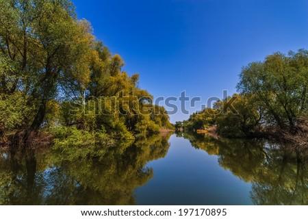 a small river channel in the Danube Delta