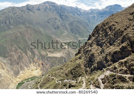 A small rocky trail leads down into Colca Canyon from Cabanaconde to Sangalle, Peru