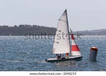 A small sail boat racing on Sydney Harbour