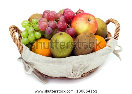 A small set of fruit in a basket on a white background