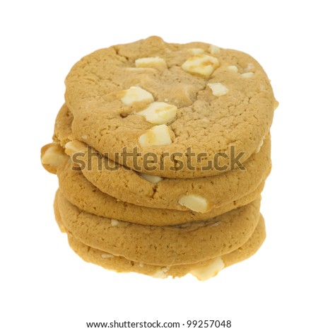 A small stack of macadamia nut and white chocolate cookies.